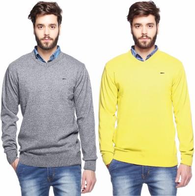 Aeroglide Solid, Striped V-neck Casual Men's Grey, Yellow Sweater