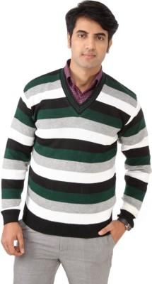 SLS Striped V-neck Casual Men's Multicolor Sweater