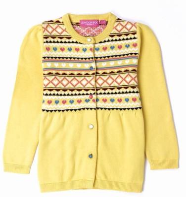 London Fog Argyle Round Neck Casual Baby Girl's Yellow Sweater