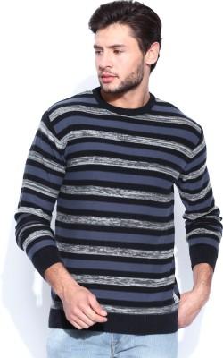 HRX by Hrithik Roshan Self Design Round Neck Casual Men's Dark Blue Sweater