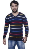AMX Striped V-neck Casual Men Multicolor...