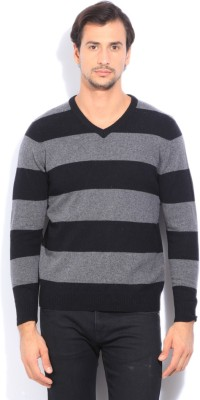 Flying Machine Striped V-neck Casual Mens Black, Grey Sweater