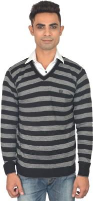 Marc Malon Striped V-neck Casual Men's Black, Grey Sweater