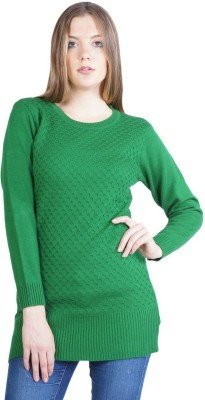 Montrex Woven, Solid Round Neck Casual, Festive, Party Women's Green Sweater