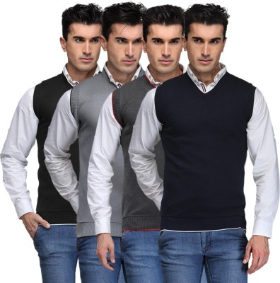 TSX Solid V-neck Casual, Party, Formal Men's Black, Grey, Grey, Blue Sweater