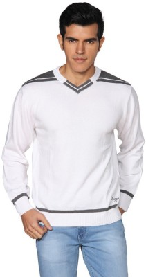 Provogue Solid V-neck Casual Men's White Sweater