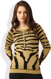 Dressberry Self Design Round Neck Casual Women Brown, Black Sweater