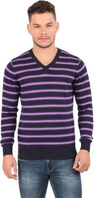 Oxemberg Striped V-neck Formal Men's Purple Sweater
