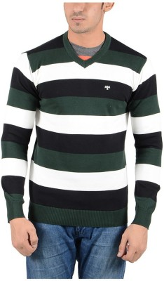 Reveller Striped V-neck Casual Men's Dark Green Sweater