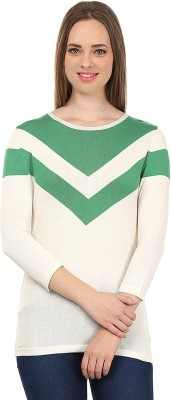 United Colors of Benetton Solid Round Neck Casual Women's White, Green Sweater