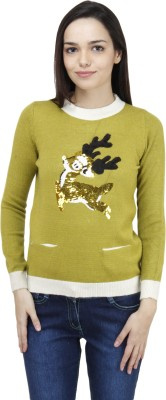 Camey Embellished Round Neck Casual Women's Green Sweater