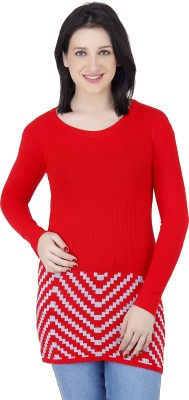 Camey Striped Round Neck Casual Women's Red Sweater