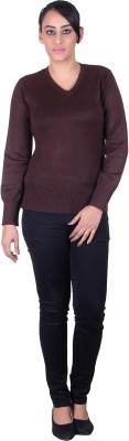 Melzo Solid V-neck Women's Brown Sweater