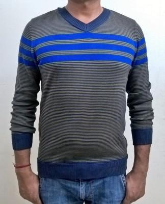 Locus Classicus Striped V-neck Men's Grey, Blue Sweater