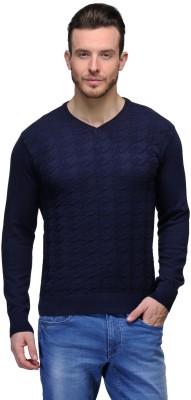 Tailor Craft Solid V-neck Casual Men's Dark Blue Sweater