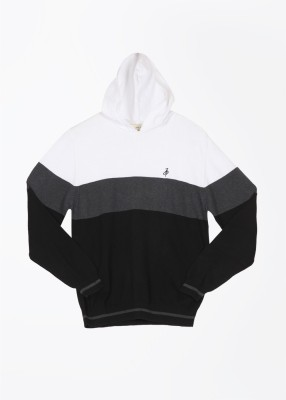 John Players Striped Casual Men's White, Black, Grey Sweater