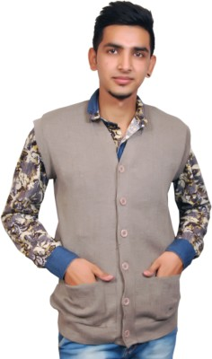 Ganpati Textiles Solid V-neck Casual, Party, Formal Men's Beige Sweater