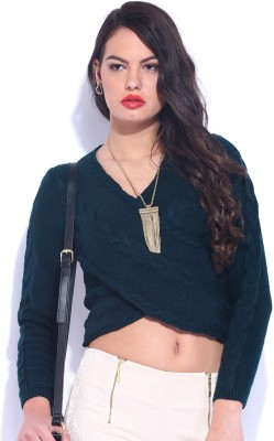 D Muse by DressBerry Self Design V-neck Casual Women's Blue Sweater