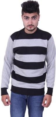 Austrich Striped Round Neck Casual Men's Grey Sweater