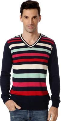 Van Heusen Striped V-neck Sports Men's Dark Blue Sweater