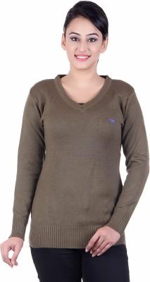 Japroz Solid V-neck Casual Girls Grey Sweater