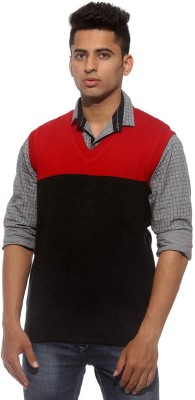 Sports 52 Wear Solid V-neck Casual Men's Reversible Red Sweater