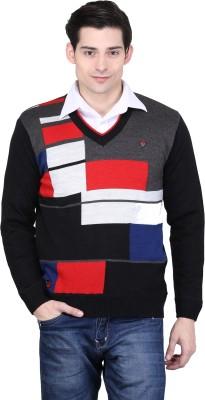 BRAVEZI Graphic Print V-neck Casual Men,s Black, Grey, Red, Multicolor Sweater