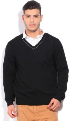Nautica V-neck Casual Men Black Sweater