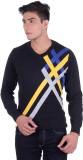 Ogarti Striped V-neck Casual Men Dark Bl...