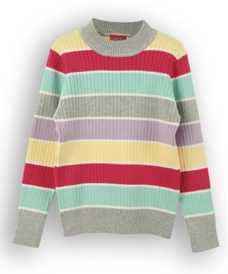 Lilliput Striped Round Neck Girls Sweater