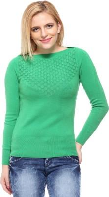 Fasnoya Self Design Round Neck Casual Women's Green Sweater