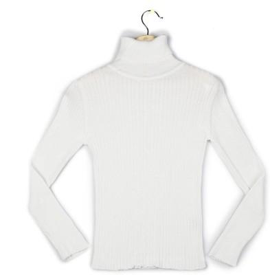 Allen Solly Self Design Turtle Neck Girl's White Sweater