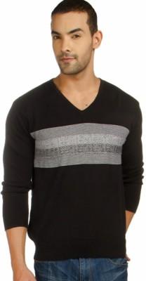 Provogue Striped V-neck Casual Men's Black Sweater