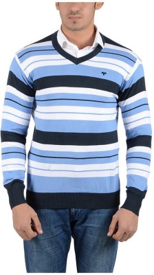 Reveller Striped V-neck Casual Men's Black Sweater