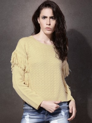 Roadster Solid Round Neck Casual Women's Beige Sweater