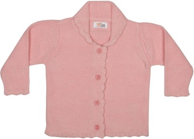 Baby Pure Solid V-neck Casual Baby Girl's Pink Sweater