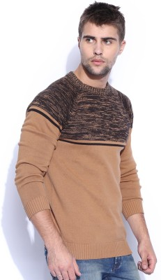 HRX by Hrithik Roshan Solid Round Neck Casual Men's Brown Sweater