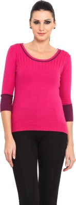 Northern Lights Solid Round Neck Casual Women's Pink Sweater