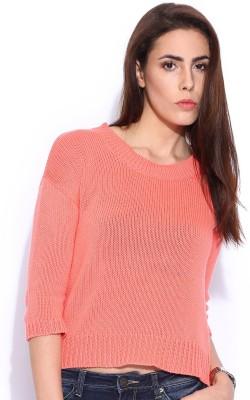 Lee Solid Round Neck Casual Women's Orange Sweater
