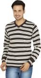 Fizzaro Striped V-neck Casual Men Brown,...