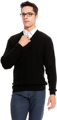 TAB91 Self Design V-neck Formal Men's Black Sweater