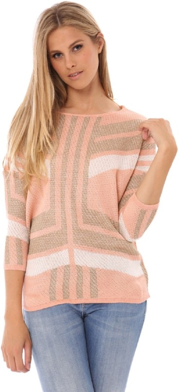 Lioness Striped Round Neck Party Women Pink Sweater