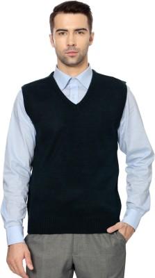 Peter England Solid V-neck Men's Dark Blue Sweater