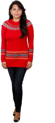 Fashion Club Solid Round Neck Women's Red Sweater