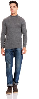 TAB91 Solid Turtle Neck Formal Men's Grey Sweater