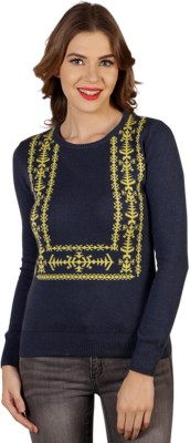 Aussehen Printed Round Neck Casual Women's Blue, Yellow Sweater