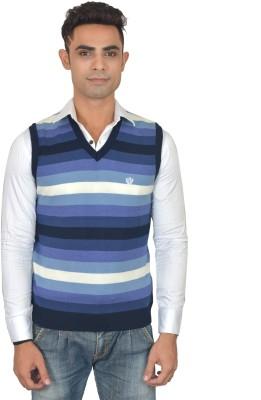 Marc Malon Striped V-neck Casual Men's Blue Sweater