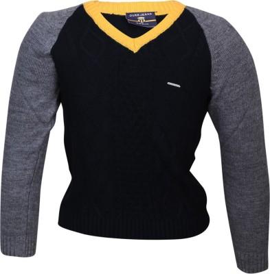 Duke Stardust Solid V-neck Casual Women's Blue Sweater
