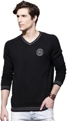 Roadster Self Design V-neck Casual Mens Black Sweater