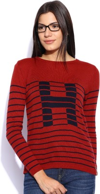 Harvard Striped Round Neck Casual Women,s Red Sweater